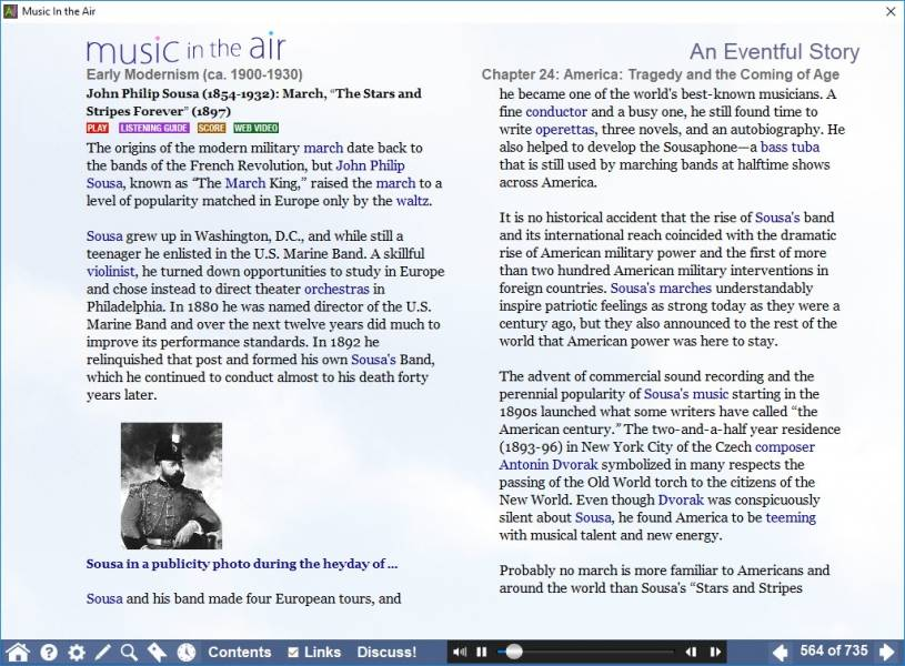 "A screenshot of a page of MITA dedicated to Sousa's ""Stars and Stripes Forever"", with buttons to ""Play"" or go to the listening guide, score, or a web video"