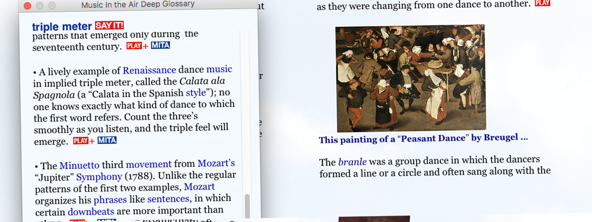 Screenshot of a Deep Glossary entry on triple meter, with Play buttons for audio demonstrations