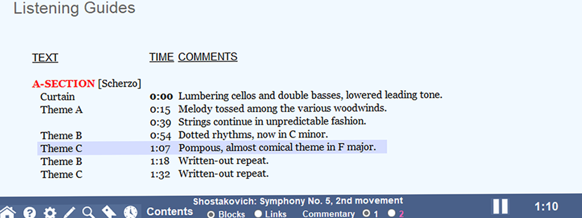 Screenshot of a listening guide for Shostakovich's 5th Symphony