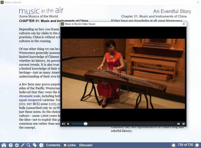 A screenshot of a section of MITA dedicated to Chinese music, with a video of Qin Xiao Ning demonstrating the sounds of the guzheng